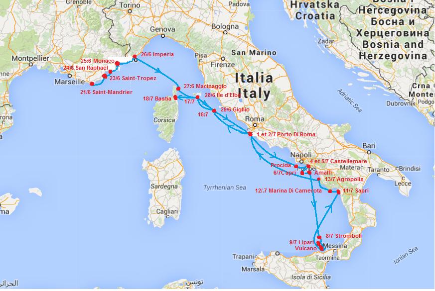carte Italie avec étapes 3