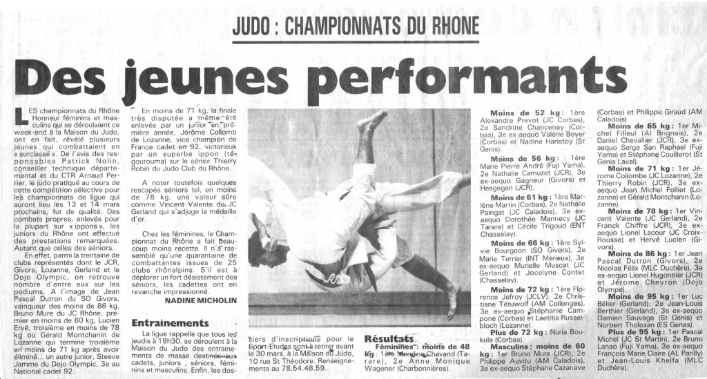 championnats du Rhône cadets 1994